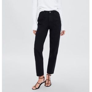 Zara Authentic Denim Mom Fit Jeans in Black